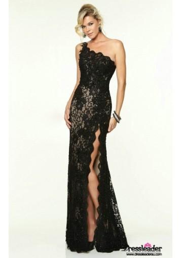 high-slit-lace-floor-length-black-one-shoulder-sheath-column-formal-dress-lcpa0136-a